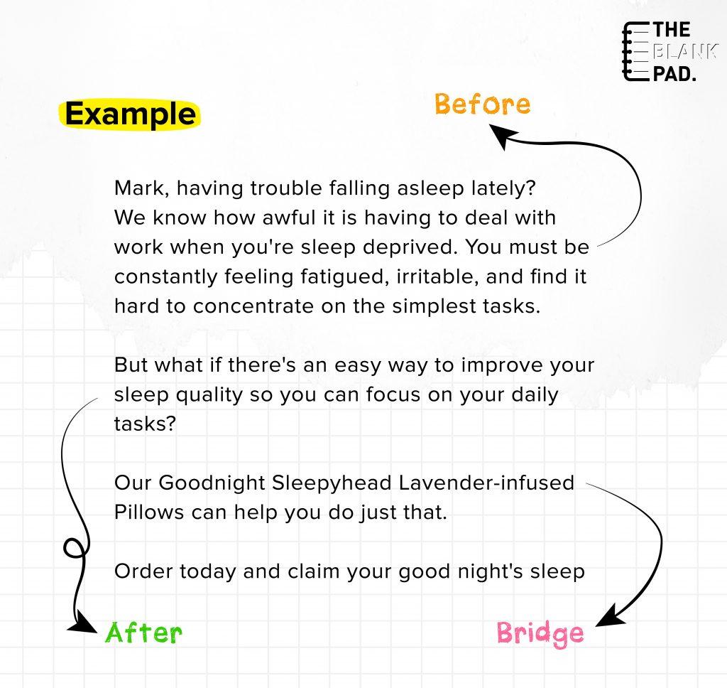 BAB Copywriting Formula Example